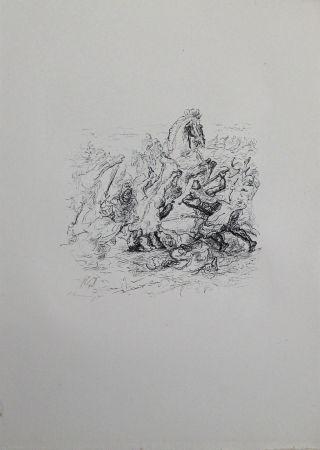 Lithographie Slevogt - Die Schlacht bei Kunaxa