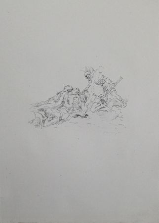 Lithographie Slevogt - Die Soldaten müssen im Schnee kampieren