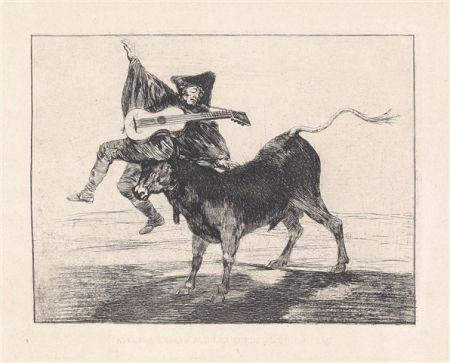Eau-Forte Et Aquatinte Goya - Dios se lo pague a usted (Aveugle enlevé sur les cornes d'un taureau)
