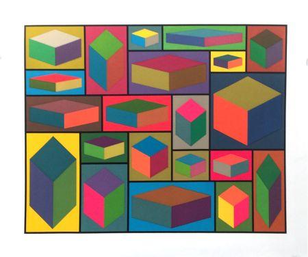 Linogravure Lewitt - Distorted Cubes