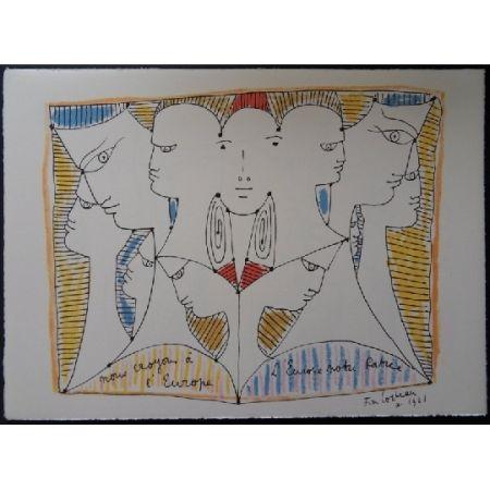 Lithographie Cocteau - Diversité d'Europe