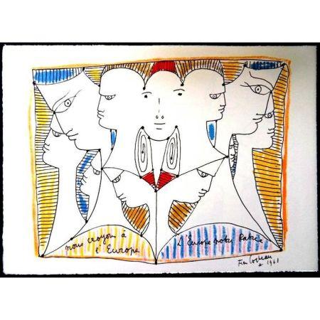 Lithographie Cocteau - Diversité Européenne