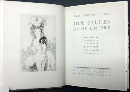 Livre Illustré Laurencin - DIX FILLES DANS UN PRÉ avec quatre gravures à l'eau-forte en hors-texte par Marie Laurencin (Ex. avec suite)