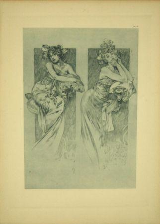 Lithographie Mucha - Document Décoratif  Planche N°12
