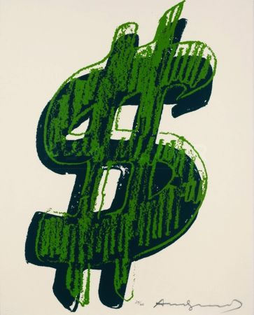 Sérigraphie Warhol - Dollar Sign, Green (Fs Ii.278)