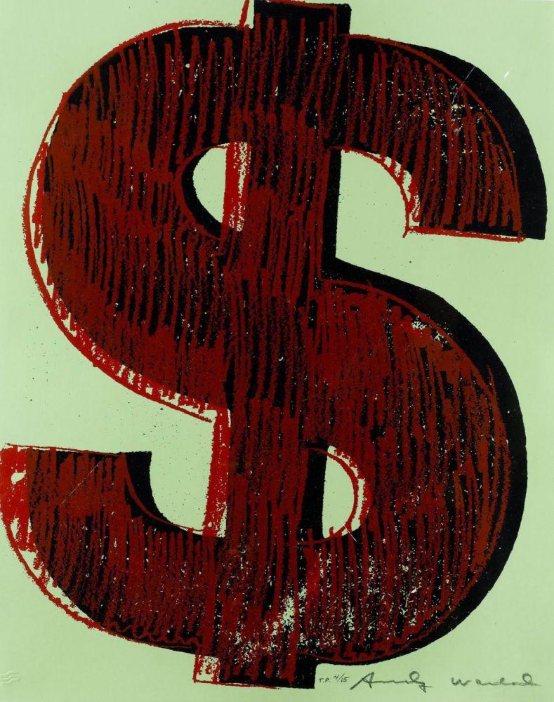 Sérigraphie Warhol - Dollar Sign, Red (FS II.278)