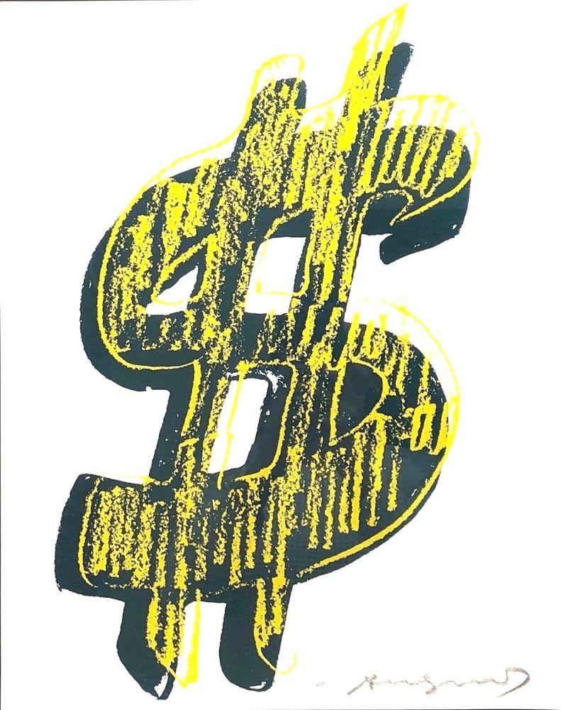 Sérigraphie Warhol - Dollar Sign, Yellow (FS II.278)