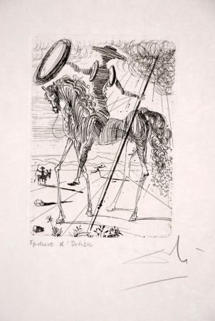 Eau-Forte Dali - Don Quichotte - Don Quixote (Suite Cinq Portraits Espagnols - Five Spanish Immortals)