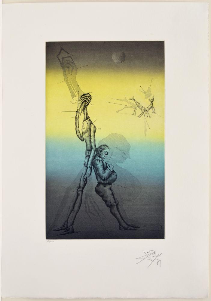 Eau-Forte Et Aquatinte Ponç - Don Quichotte et Sancho à dors, XVI
