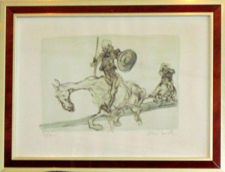 Lithographie Weisbuch - Don quichotte et sancho panza