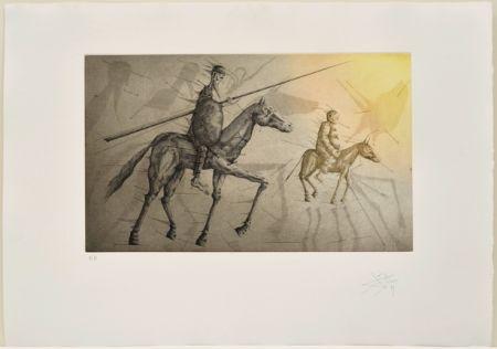Eau-Forte Et Aquatinte Ponç -  Don Quichotte suivant Sancho, X