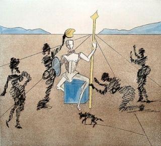 Gravure Dali - Don Quijote - le casque d'or de Mandrino