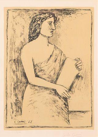 Lithographie Carra - Donna con Libro