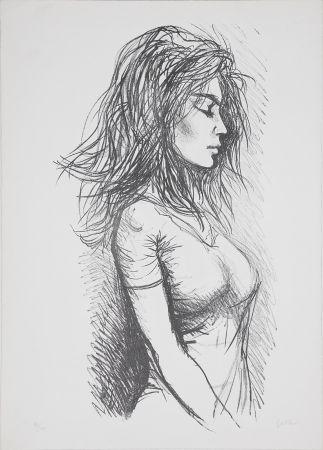 Lithographie Guttuso - Donna di profilo verso destra