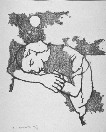 Lithographie Casorati - Donna dormiente