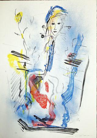 Lithographie Treccani - Donna e violino