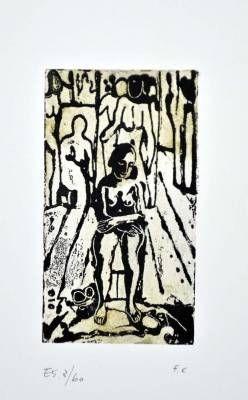Linogravure Casorati - Donna nella stanza