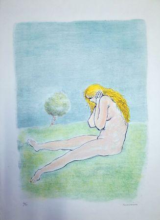 Lithographie Messina - Donna seduta