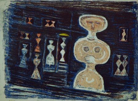 Lithographie Campigli - Donna su fondo blu