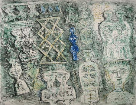 Lithographie Campigli - Donna su fondo verde