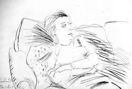 Eau-Forte Tamburi - Donna sul divano