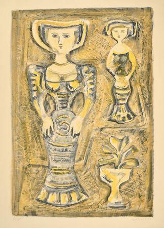 Lithographie Campigli - DONNE - FIORI, 1957