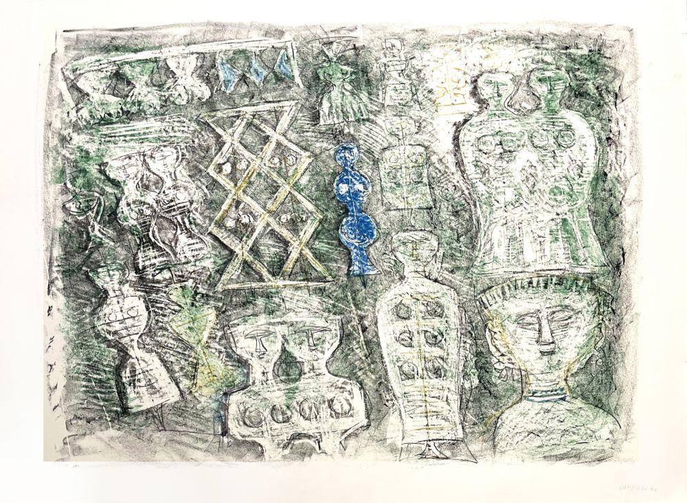 Lithographie Campigli - Donne su fondo verte