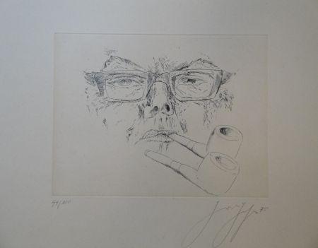 Gravure Grass - Doppelter Max. Kopf Max Frisch mit Pfeife