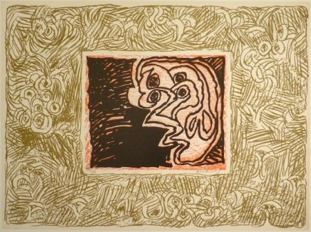 Linogravure Alechinsky - Double Vue