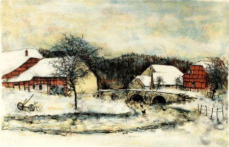 Lithographie Gantner - DOUCEUR HIVERNALE