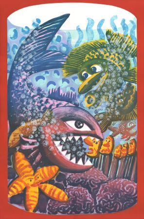 Lithographie Di Rosa - Drame dans l'Aquarium
