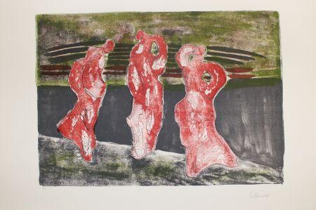 Lithographie Herold - Drei Figuren