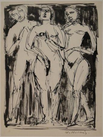 Monotype Helbig - Drei stehende Figuren