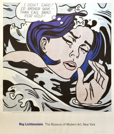 Lithographie Lichtenstein - 'Drowning Girl' Hand Signed Exhibition Poster 1996