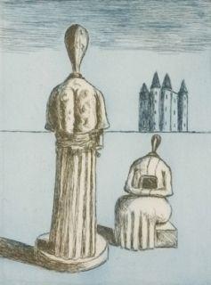 Gravure De Chirico - Dualité, les muses inquiétantes