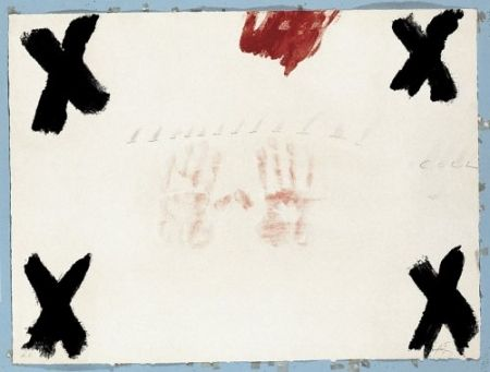 Gravure Tàpies - Dues mans