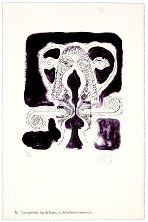 Lithographie Nørgaard - E. Autoportrait, tête de Janus, la schizophrénie universelle.