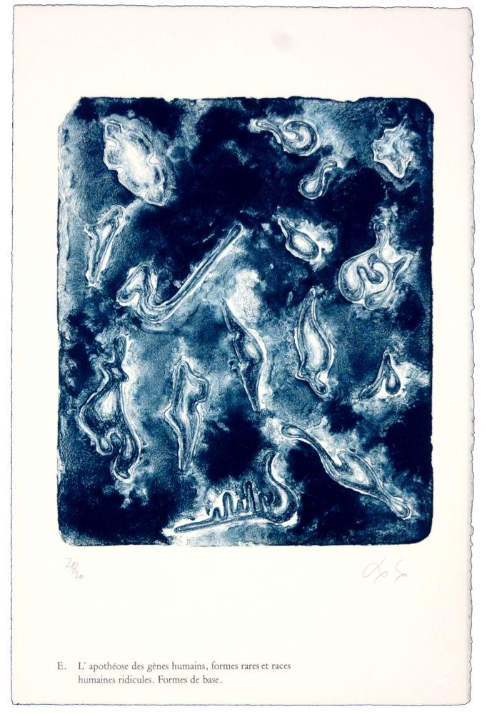 Lithographie Nørgaard - E. L'apothéose des gènes humains, formes rares et races humaines ridicules. Forme de base.