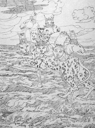Lithographie De Chirico - E vidi una bestia salir su dal mare...