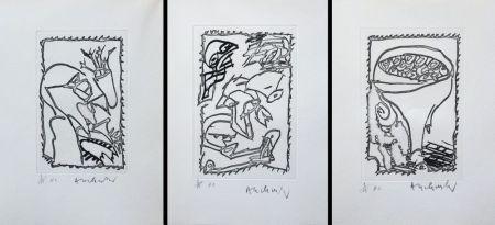 Gravure Alechinsky - Eclipses - Triptyque