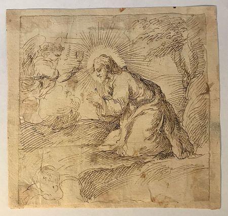 Aucune Technique Anonyme - Ecole italienne, XVIIe, cecle de Carlo MARATTA (1625-1713).  Le Christ en prière