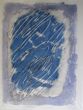 Aquatinte Fautrier - Ecriture sur fond bleu