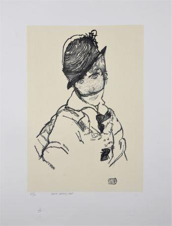 Lithographie Schiele - EDITH SCHIELE, 1915
