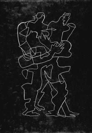 Eau-Forte Zadkine - Efant aux mains coupées parmi les poses oriflammes