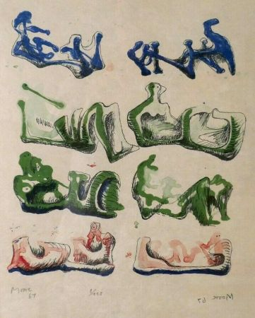 Lithographie Moore - Eight Reclining Figures