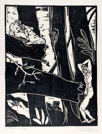 Linogravure Ehmsen - Ein Bangen und Zagen (Being anxious and hesitant)