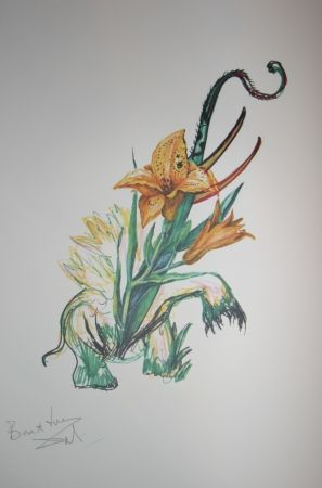 Lithographie Dali -  Elephant Lily (surrealistic flowers)