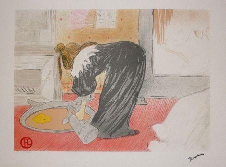 Lithographie Toulouse-Lautrec - Elles, femme au tub