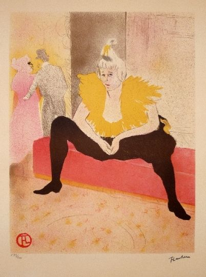 Lithographie Toulouse-Lautrec - Elles, La Clownesse assise