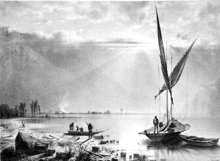 Lithographie Fontanesi - Embouchures du Rhone (Lac de Genève)